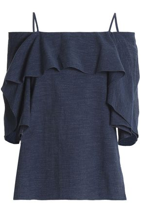 HALSTON HERITAGE Cold-shoulder ruffled cotton-chambray top