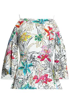 PETER PILOTTO Cold-shoulder printed crepe blouse