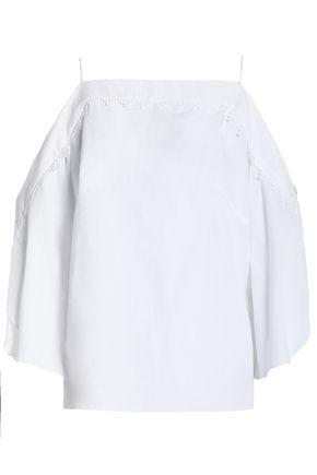 PETER PILOTTO Cold-shoulder crochet-trimmed cotton-poplin top