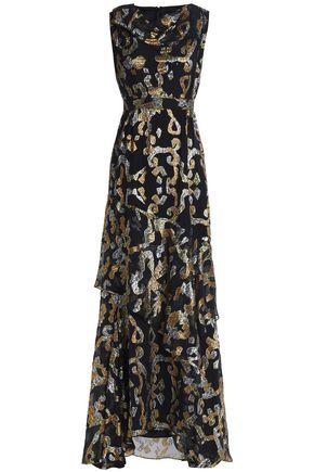 ANCIENT GREEK SANDALS x PETER PILOTTO Metallic fil coupé silk-blend gown