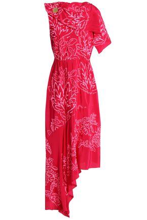 PETER PILOTTO Asymmetric embroidered silk-satin midi dress