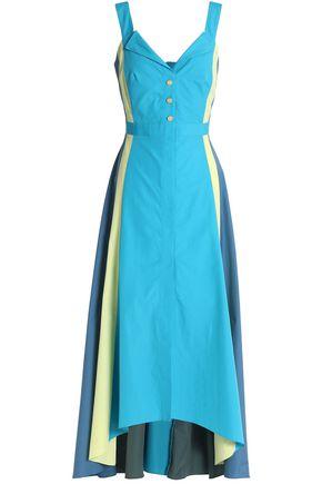 PETER PILOTTO Asymmetric color-block cotton-poplin midi dress