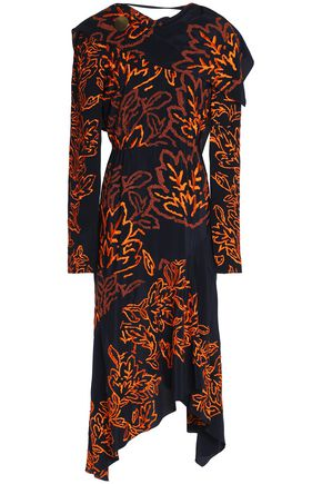 PETER PILOTTO Asymmetric embroidered silk-crepe dress