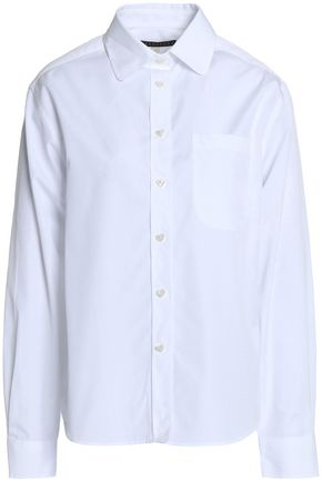 ALEXACHUNG Striped cotton-poplin shirt