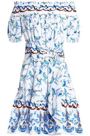 ANCIENT GREEK SANDALS x PETER PILOTTO Off-the-shoulder printed cotton-poplin dress