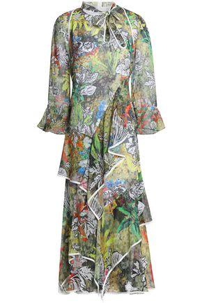 PETER PILOTTO Ruffled printed silk-georgette midi dress