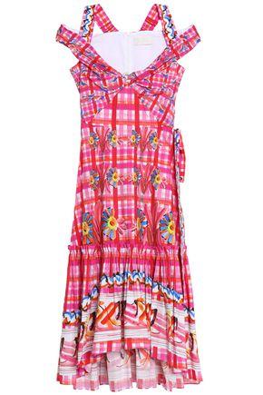 PETER PILOTTO Cold-shoulder printed cotton-poplin midi dress
