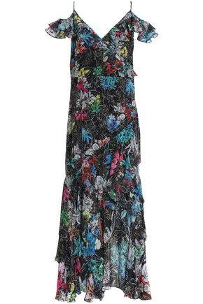 PETER PILOTTO Cold-shoulder ruffled printed silk-georgette gown
