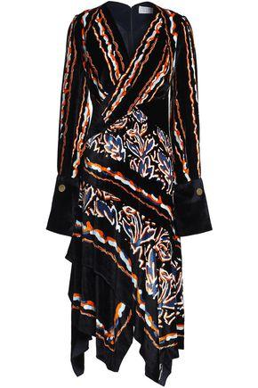 PETER PILOTTO Asymmetric wrap-effect printed velvet dress