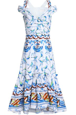 PETER PILOTTO Cold-shoulder printed cotton-poplin midi dress