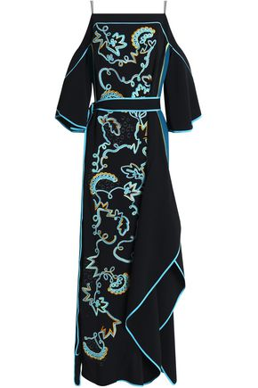 PETER PILOTTO Cold-shoulder belted appliquéd crepe gown