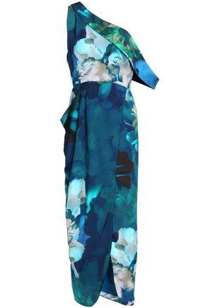 MICHELLE MASON One-shoulder draped silk-satin midi dress
