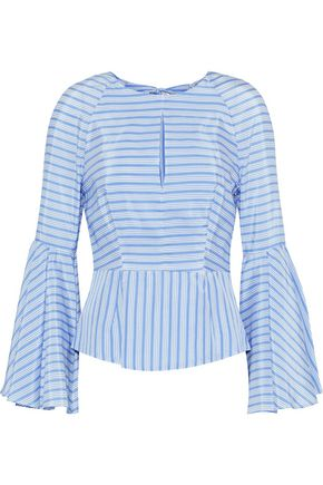 MILLY Luna cutout striped silk and cotton-blend top