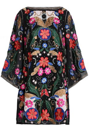 ALICE+OLIVIA Embellished embroidered chiffon mini dress