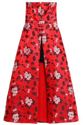ALICE + OLIVIA Asymmetric floral-jacquard gown