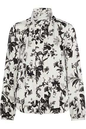 McQ Alexander McQueen Pussy-bow floral-print satin-twill blouse