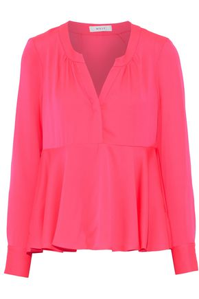 MILLY Neon silk-blend voile peplum top
