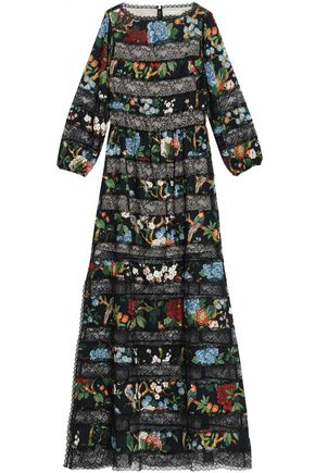 ALICE+OLIVIA Paneled floral-print crepe de chine and lace maxi dress