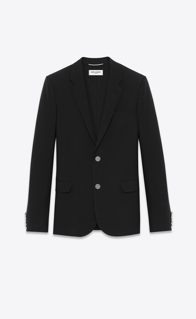 SAINT LAURENT Blazer Jacket Man single-breasted jacket in black gabardine a_V4