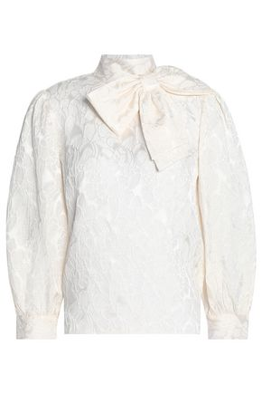 ALICE+OLIVIA Bow-embellished silk-blend jacquard blouse