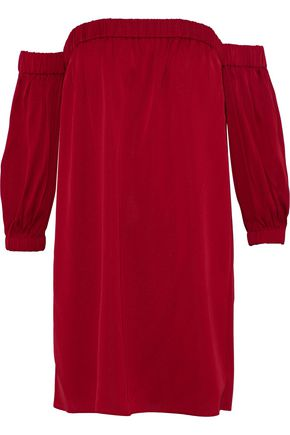 MILLY Off-the-shoulder silk-blend crepe de chine mini dress