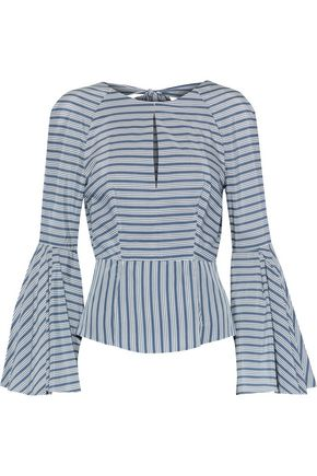 MILLY Luna open-back striped silk and cotton-blend top