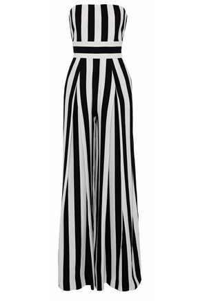 MILLY Strapless pleated striped crepe jumpsuit