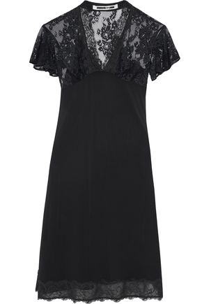 McQ Alexander McQueen Lace-paneled chiffon dress