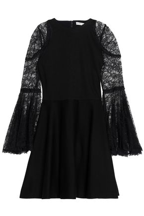 ALICE + OLIVIA Corded lace-paneled jersey mini dress