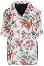 McQ Alexander McQueen Printed satin-paneled floral-print crepe shirt