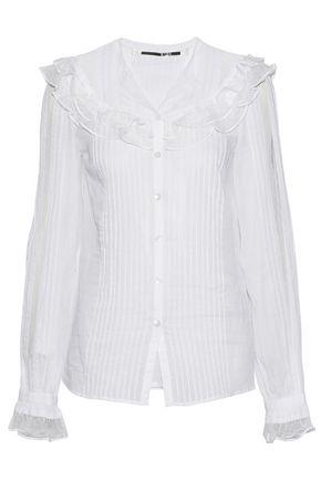 McQ Alexander McQueen Point d'espirit-trimmed pintucked cotton-voile top