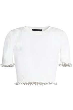 ALEXANDER WANG Cropped embellished ribbed cotton top