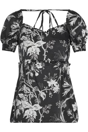 McQ Alexander McQueen Ruffle-trimmed floral-print satin-twill top