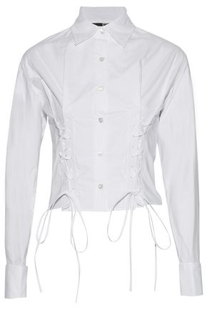 McQ Alexander McQueen Lace-up cotton-poplin shirt