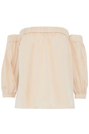 MILLY Off-the-shoulder silk-blend crepe de chine top