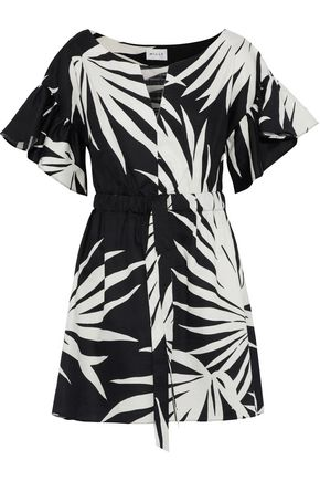 MILLY Vivian printed textured cotton-poplin mini dress