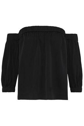 MILLY Off-the-shoulder silk-blend crepe de chine top