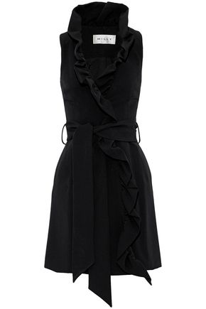 MILLY Ruffled crepe wrap dress