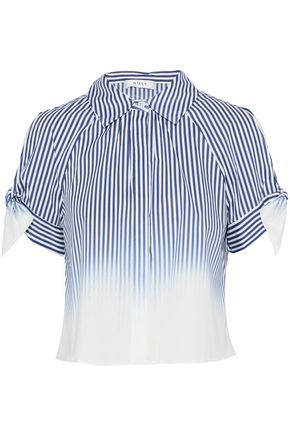 MILLY Cold-shoulder striped dégradé cotton-blend poplin shirt
