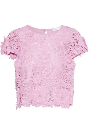 MILLY Floral-appliquéd guipure lace top