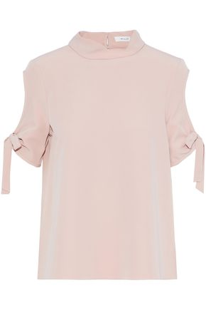 MILLY Cutout bow-embellished cady top