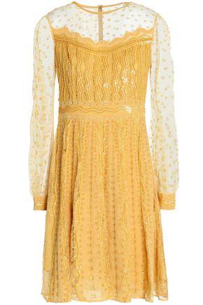 ZUHAIR MURAD Embellished tulle-paneled silk-blend dress