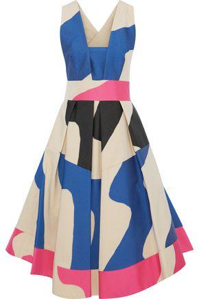MILLY Crossback Tea cotton-blend jacquard midi dress