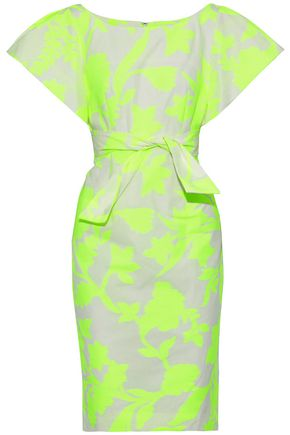 MILLY Dakota neon fil coupé cotton-blend poplin dress