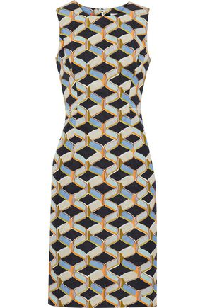 MILLY Kendra printed cotton-blend faille dress