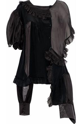 SIMONE ROCHA Asymmetric ruffled silk-satin and chiffon blouse