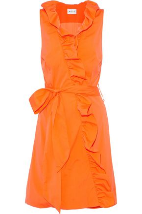 MILLY Neon ruffled cotton-blend poplin wrap mini dress