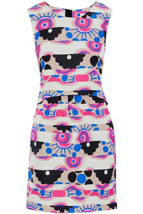 MILLY Laura printed cotton-blend faille mini dress