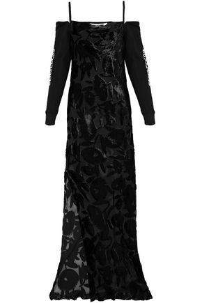 McQ Alexander McQueen Cold-shoulder embroidered cotton terry-paneled devoré velvet gown