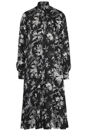 McQ Alexander McQueen Pussy-bow floral-print satin-twill midi dress